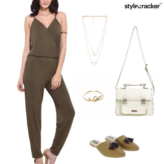 Olive Jumpsuit Necklace Casual - StyleCracker