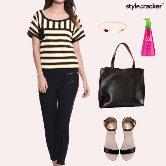 Stripes Top ToteBag Flats Footwear - StyleCracker