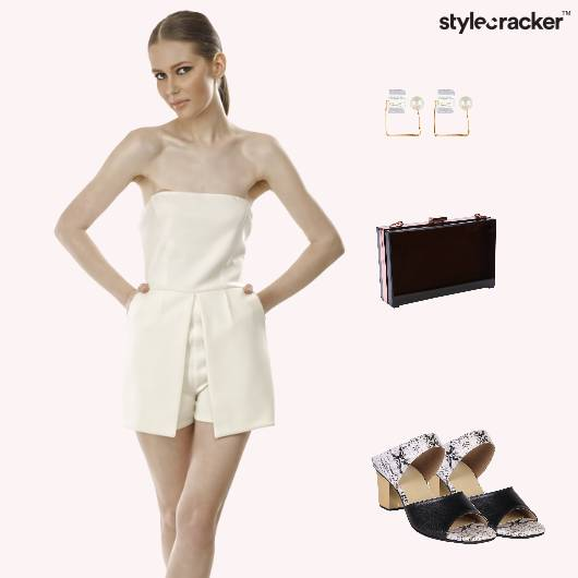 Playsuit Snakeskin Blockheels Party  - StyleCracker