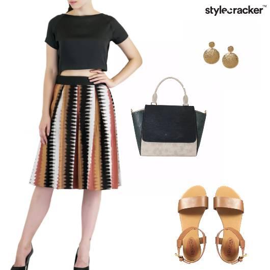 TankTop Skirt Flats Handbag Earrings Brunch - StyleCracker