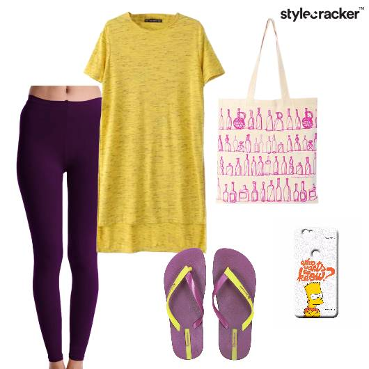 Tshirt Leggings Flipflops Yoga - StyleCracker
