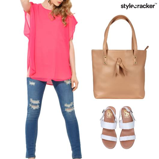 Blouse Top ToteBag Flats Lunch - StyleCracker