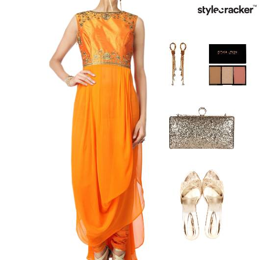 Indian Festive Ethnic Drapes Clutch - StyleCracker