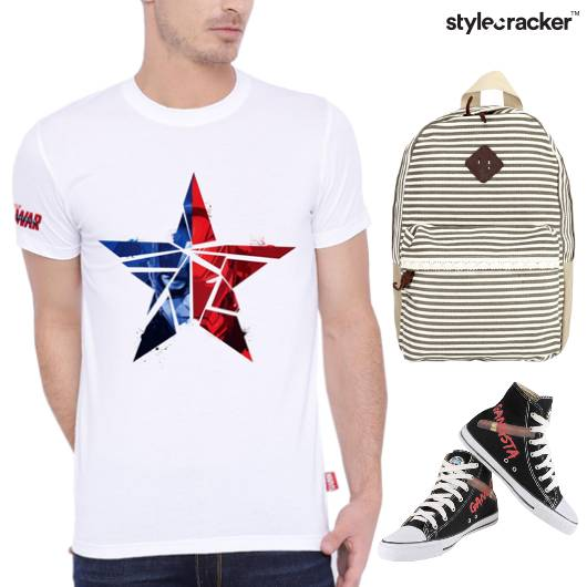 Casual TShirt Stripes Backpack HiTop Footwear - StyleCracker