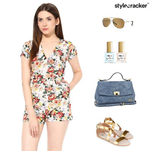 Chic Girly Romper Flats Floral SlingBag - StyleCracker