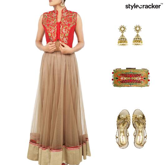 Ethnic Indian Gold Heels Clutch - StyleCracker