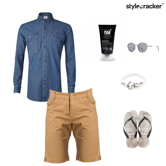 Casual Shorts Reflectors Slippers DenimShirt  - StyleCracker
