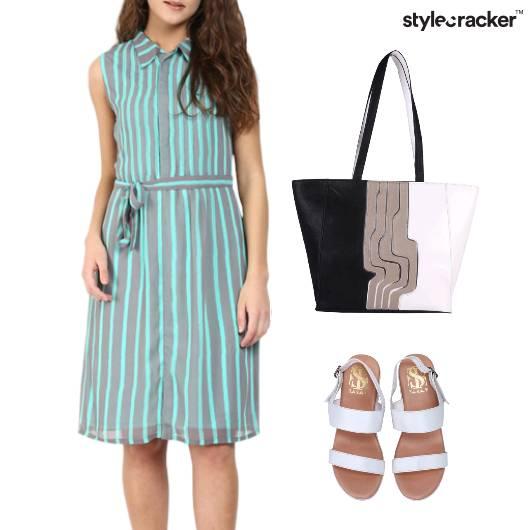 Stripe Dress ToteBag Flats Lunch - StyleCracker