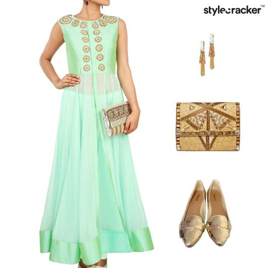 Indian Ethnic Ballet Flats Clutch  - StyleCracker