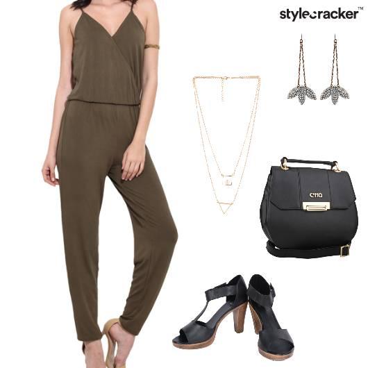 Jumpsuit Heels SlingBag LayeredNecklace Drops Party - StyleCracker