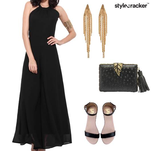 Maxidress Flats Strappy Clutch Shoulderdusters Festive - StyleCracker