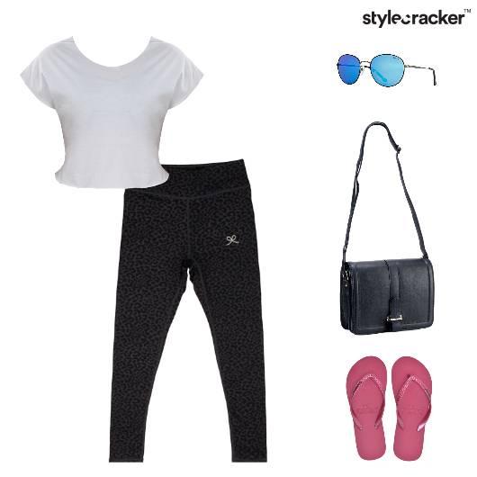 Athletic CropTop SlingBag Reflectors Slippers - StyleCracker