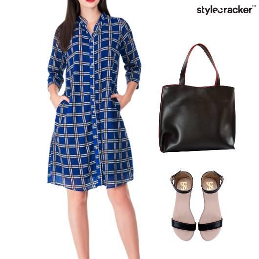 Printed Shirt Dress ToteBag Flats - StyleCracker