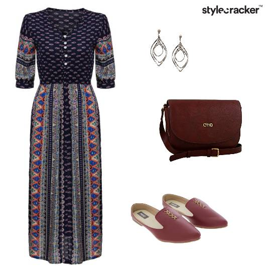 Printed Maxi Dress Lunch  - StyleCracker