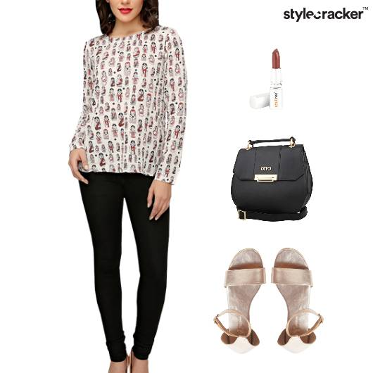Printed Blouse SlingBag Flats Lunch - StyleCracker