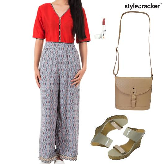 Jumpsuit SlingBag Wedges Lunch Cosmetic - StyleCracker