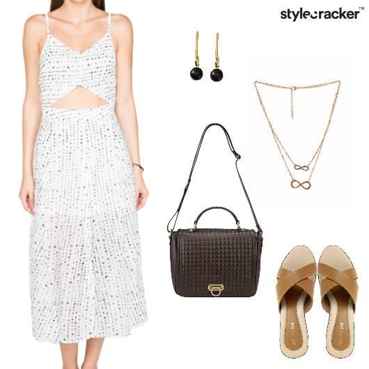 Dress Wedges Slingbag InfinityNecklace LunchDate - StyleCracker