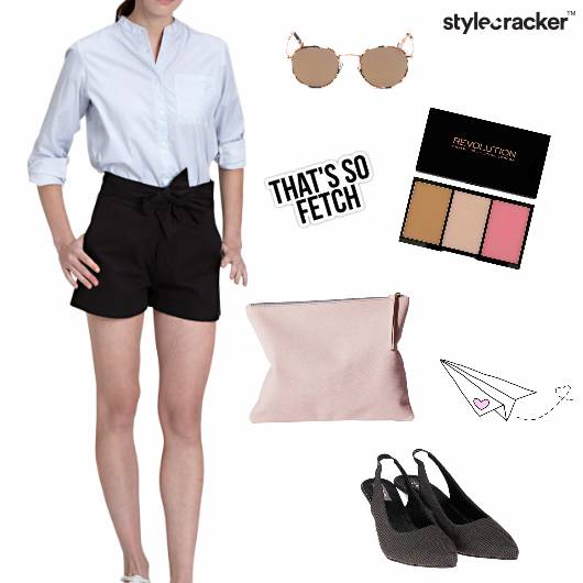 Shorts Shirt Slingbacks Sunglasses Minimal - StyleCracker