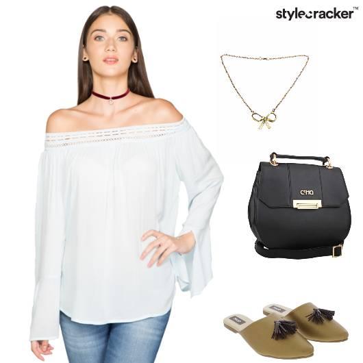 OffShoulder Top SlingBag Flats Shopping - StyleCracker