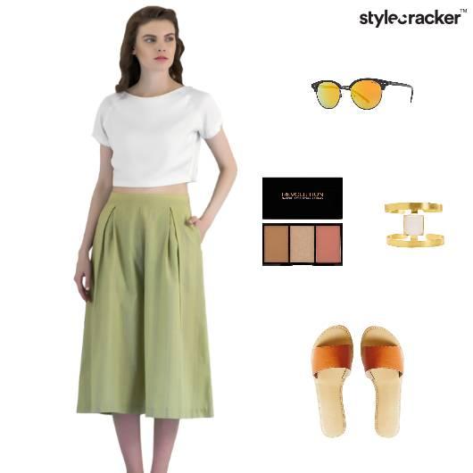 Brunch Casual Flats CropTop Culottes   - StyleCracker