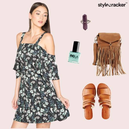 Floral Offshoulder Dress Fringe Sandals  - StyleCracker