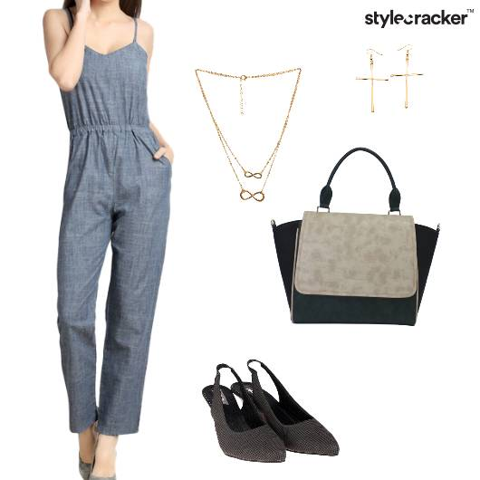 Jumpsuit Slingbacks Handbag Earrings Brunch - StyleCracker