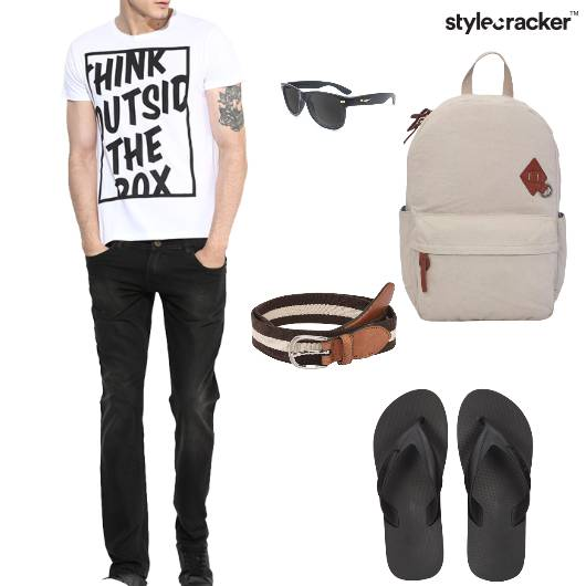 Tshirt Shorts Flipflops Backpack Belt Sunglasses Casual - StyleCracker