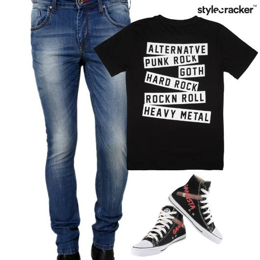 Casual TShirt Denim HiTop Footwear - StyleCracker
