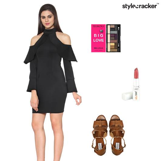 Party Glam Black ColdShoulder - StyleCracker