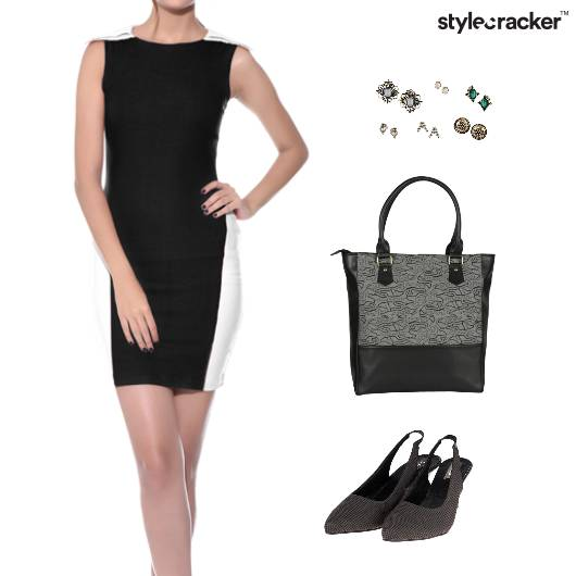 ColorBlock Dress ToteBag Lunch Exhibition - StyleCracker