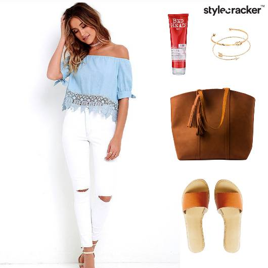 Brunch Offshoulder Sliders Tote Casual - StyleCracker