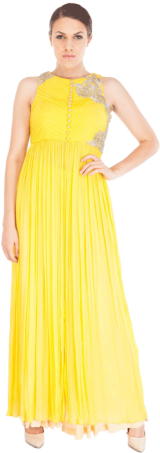 Shruti Ranka - Yellow Ruched Tunic with Gold Satin Pallazos - StyleCracker