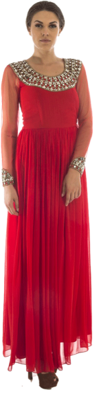 Megha Grover - Red Ruched Gown - StyleCracker