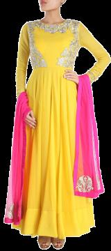 Karieshma Sarnaa - Yellow Kalidar Kurta Set - StyleCracker