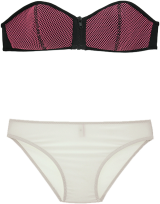 Prettysecrets Neon Pink Netted Front Zip Bikini Set - StyleCracker