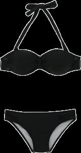 Prettysecrets Flattering Black Ruched Halter Bikini Set - StyleCracker