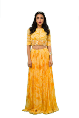 Sonam Luthria - Mustard Crop with Pleated Skirt Set - StyleCracker