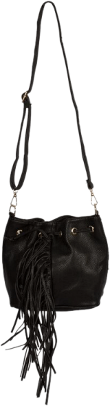 Black bucket fringe bag - StyleCracker