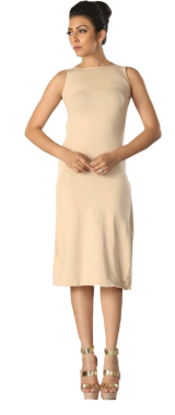 High Neck with Low Back Fitted Jersey Midi Dress - StyleCracker