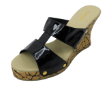 Black Print By Heel Wedge - StyleCracker