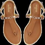 Brown Gold Detail Flats - StyleCracker