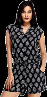 LocoEnCabeza Black printed Rayon sleeveles short Jumpsuit CZWR0002 - StyleCracker