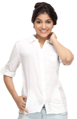 LocoEnCabeza Solid White Cotton Womens Long Sleeve Shirt CZWT0004 - StyleCracker