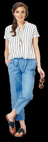 STRIPED CAP SLEEVE SHIRT - StyleCracker