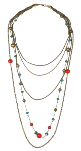 Red-Green Stones Copper Necklace - StyleCracker