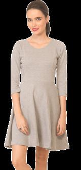 Grey Jersey Skater Dress - StyleCracker