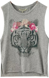 Grey Tiger Print Split T-shirt - StyleCracker