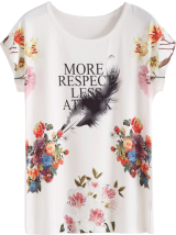 White Floral Letter print T-shirt - StyleCracker