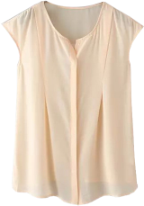 Peach Sleeveless Sheer Blouse - StyleCracker