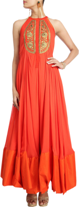 Scarlet Orange Gown Kurta Set - StyleCracker